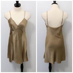 Victoria's Secret Vintage Silk Golden Tan Slip